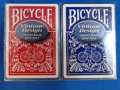 2 Vintage Bicycle Safety Back Playing Cards Decks Red & Blue! Ohio made! Sealed