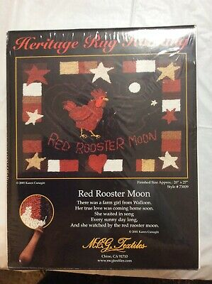 Heritage Rug Hooking Red Rooster Moon 20 X 27.
