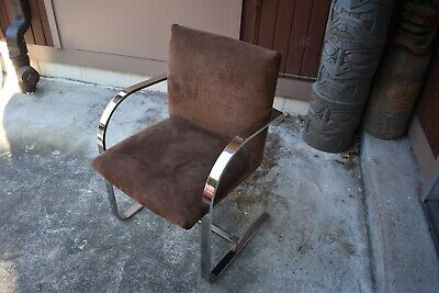 VTG MCM cantelever chrome dining side chair milo Baughman 60's Danish Mod style