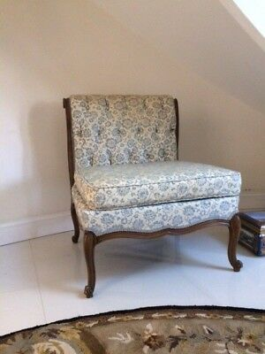 Two Vintage Antique French Tufted Slipper Chairs Pair Carved Wood Living Room