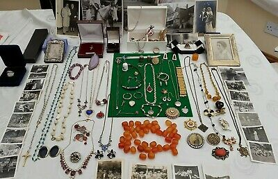 9ct GOLD ,SOLID SILVER & VINTAGE- JEWELLERY,,VICTORIAN FRAME,PHOTOS JEWEL BOXES