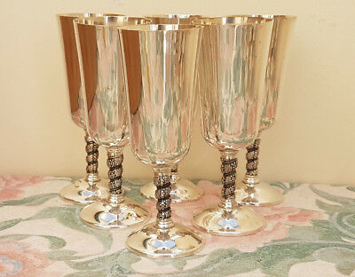 Set of 6 antique silver plated drinking goblets, very good condition