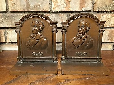 Rare Pair Antique 1920'S Bradley & Hubbard Cast Iron Bookends Holmes Poet Bronze