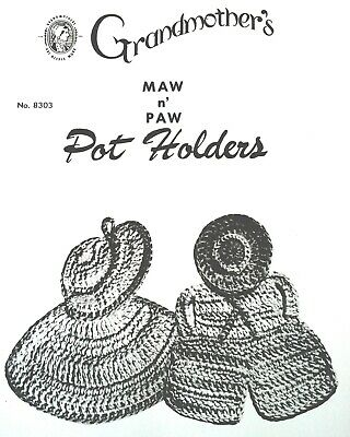 8303 Vintage Grandmother's MAW 'N' PAW POTHOLDERS Pattern to Crochet (Repro)