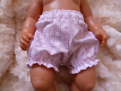 """BJB dolls clothes, Pink daisy check knickers pants fit 18"""" baby born doll"""