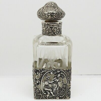 Antique German  Silver And Glass Perfume Bottle. Beautiful Example.