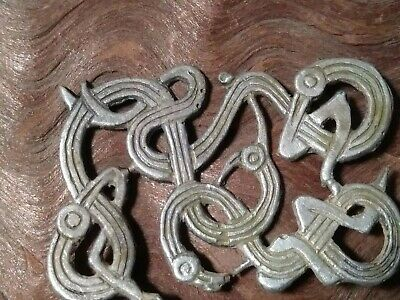 Norse large Silver Viking Applique Beasts Amulet - 8th-10th c unusual, talisman