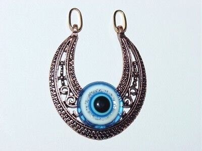 Bronze Tone Filigree Royal Blue  Evil Eye  Egyptian Style  Pendant Necklace