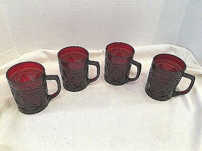 Luminarc Cristal D'Arques Durand Antique Ruby Red Mugs - Set of 4 Made in France
