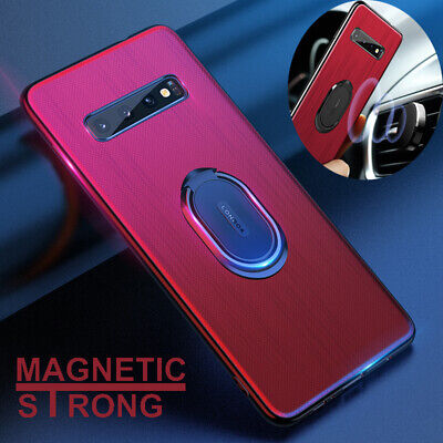 For Samsung Galaxy S10 Plus Ultra Thin Magnetic Car Ring Holder Back Case Cover