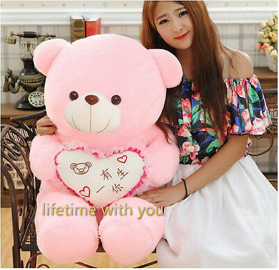 NEW GIANT BIG PLUSH Pink TEDDY BEAR HUGE SOFT TOY BIRTHDAY GIFT 60CM