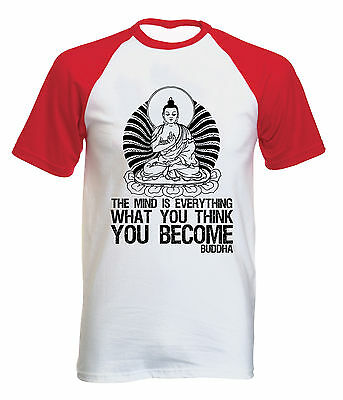 Buddha You Become Quote - New Cotton Baseball Tshirt All Sizes