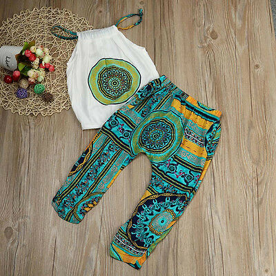 2pcs Toddler Kids Baby Girl Shirt Tops+Pants Summer Beach Outfits Clothes Set CC