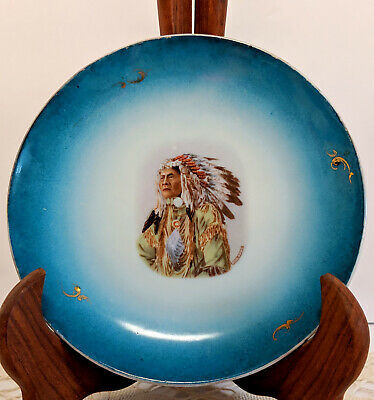 Antique RARE Royal Sax GERMANY High Hawk Collectible Wall Plate, Indian Chief