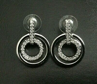 a72d157f4 Swarovski Elements Crystal Circle Mini Pierced Earrings Rhodium Authentic