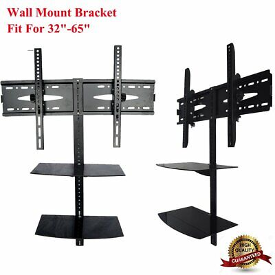 """32""""-65""""Tabletop TV Stand Wall Mount Bracket Pedestal with 2 Shelves LCD LED"""