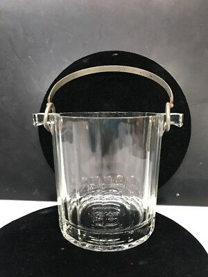 Vintage Italy Glass Crystal Ice Bucket With Handle