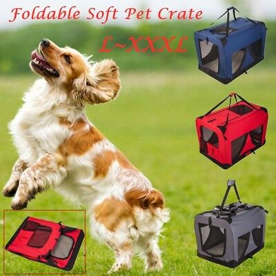 Pet Soft Crate Portable Dog Puppy Cat Carrier Travel Bag Cage Foldable Kennel AU
