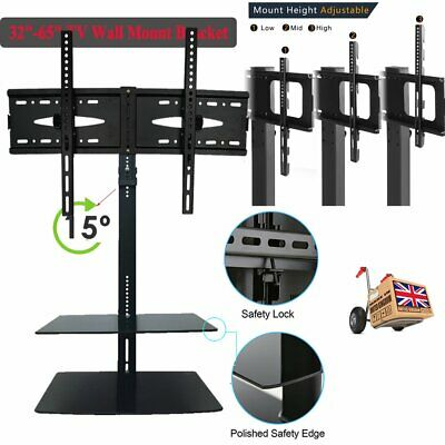 """TV Wall Mount Bracket 32"""" 65"""" with Floating Shelves For Sky Blueray DVD Xbox MR"""