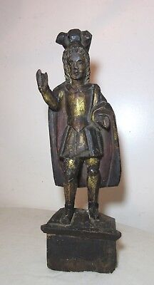 large antique 1700's carved wood Italian religious Santos saint sculpture statue