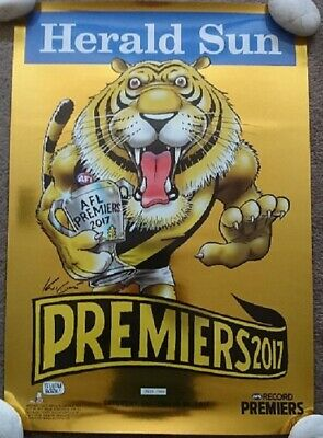 AFL Richmond Tigers Limited Edition 688 of 1000 Mark Knight Poster GOLD FOIL