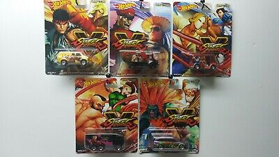 2019 Hot Wheels Street Fighter V Complete 5-Car Set *free Shipping*