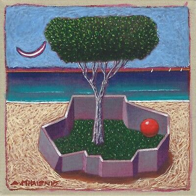 "Dimitris C. Milionis ""TREE & RED BALL"" Original Painting Signed Greek 2014"