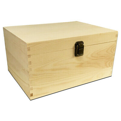 Unfinished Wood Classic Box with Hinged Lid for Arts, Crafts, Hobbies and Home S