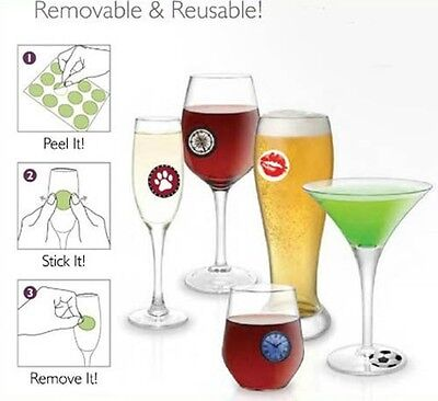 Wine Glass Stick'ems Cocktail Party Glass Removable Decals Glass ID Charms -24pc