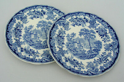 "(2) Copeland Spode - Rhine Blue 10 1/4"" Dinner Plates - Nice Condition - England"