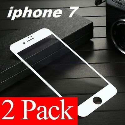 2 Pack White Full Cover Tempered Glass 3D Curved Screen Protector For iPhone 7