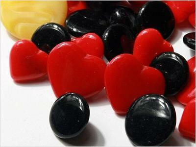 Lot (50) Czech Vintage 1940's mixed red heart and fancy glass buttons