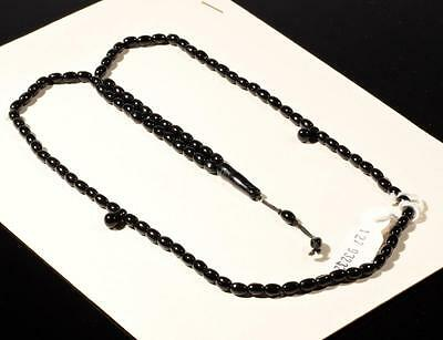 Vintage Czech 99 oval teardrop tube black glass bead Islamic prayer bead strand