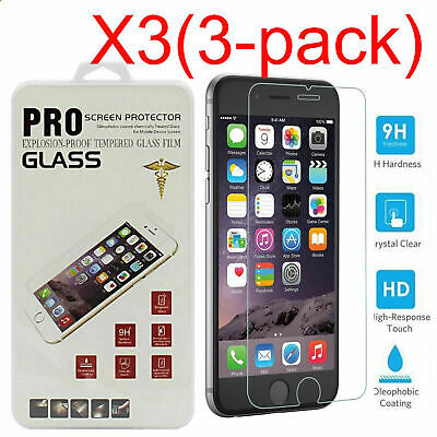 3x Premium Tempered Glass Film Screen Protector for iPhone Xs Max XR X 8 7 6 5 S