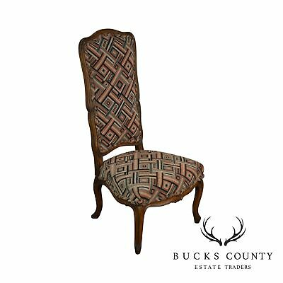 French Louis XV Style Vintage Walnut High Back Carved Slipper Chair
