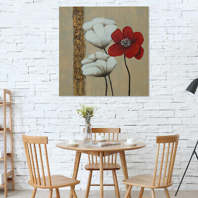 Modern Hand-painted Art Oil Painting: Poppy Flowers On Canvas Wall Decor Framed