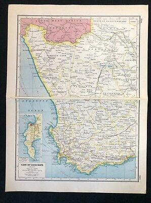 VINTAGE MAP 1920, CAPE OF GOOD HOPE (WEST), SOUTH AFRICA ...