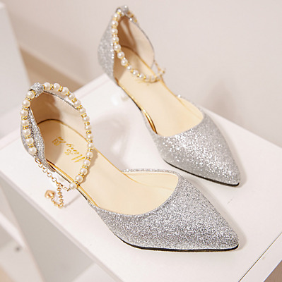 SEXY Bling Women's point Toe Stiletto High Heel Dress Pump pearl Strap Shoes