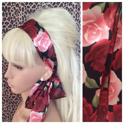 NEW LEMON BLUE ROSE FLORAL RETRO COTTON HEADBAND HAIR SCARF SELF TIE BOW VINTAGE