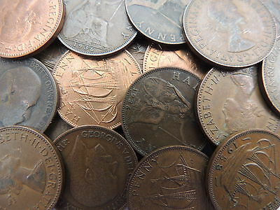 Bulk Lot 50 Old British Half Penny Coins From 1911 To 1967