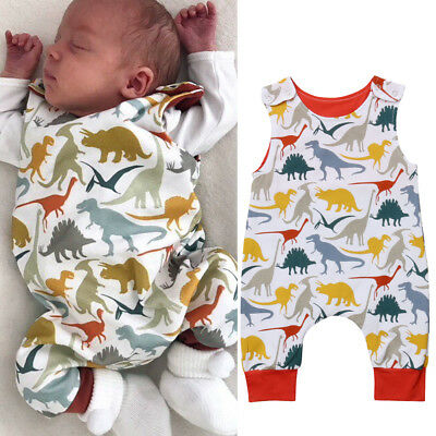 Newborn Dinosaur Baby Boy Girl Romper Jumpsuit Bodysuit Outfits Cotton Clothes