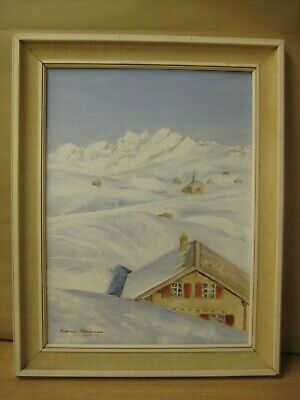 Art Framed original signed painting winter landscape by Marion Chapman mountains