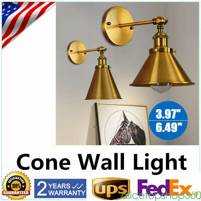 NEW Industrial Vintage Style Brass Cone Wall Light Sconce Lamp Shade Fixtures US