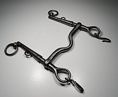 Antique Portuguese 19Th Century Hand Forged Wrought Iron Mouth Horse Bridle