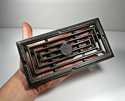Antique Cast Iron Old Stove Rectangle Pipe Flue Cover Grate Ventilator ALBA # 5