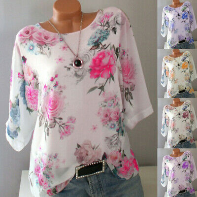 Plus Size Women Floral 3/4 Sleeve Loose Blouse Ladies Round Neck Tops T-Shirt