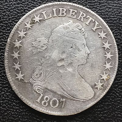 1807 Draped Bust Half Dollar 50c very old, nice coin Many Details #6024
