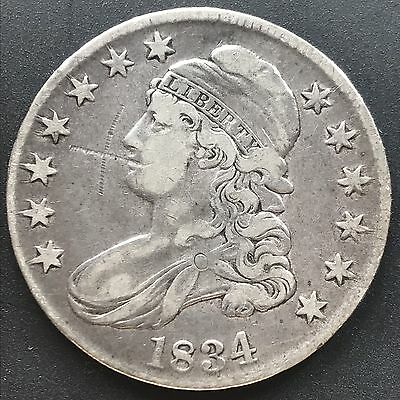 1834 Capped Bust Half Dollar 50c High Grade XF     #6266