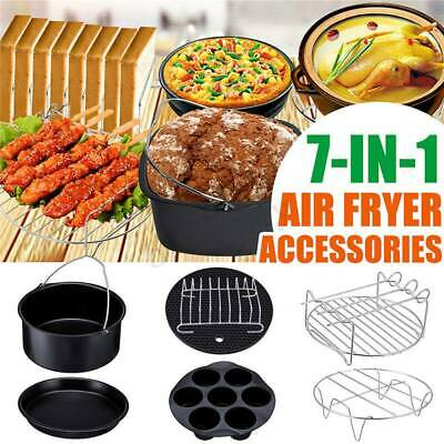 """11PCS 8"""" Air Fryer Frying Cage Dish Baking Pan Rack Pizza Tray Pot Accessories"""