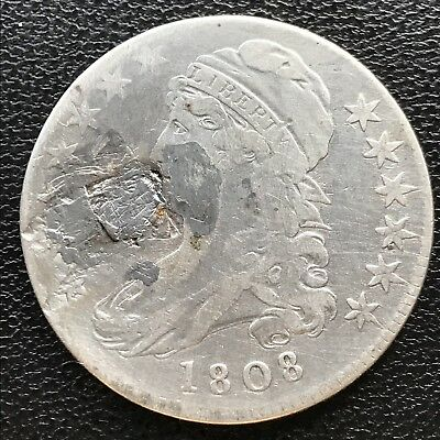 1808 Capped Bust Half Dollar 50c Circulated Plugged #7726